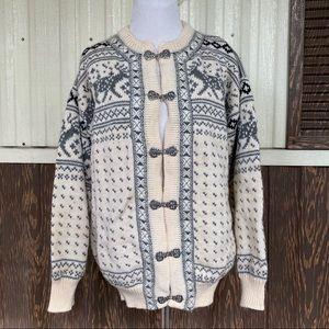 Dale of Norway Wool Nordic ReinDeer Cardigan sz XL